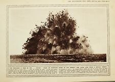 1916 WWI WW1 PRINT EXPLODING MINE FRANCE FROM BRITISH TRENCH