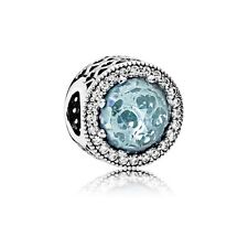Authentic Pandora Silver Charm Bead Radiant Hearts Blue CZ 791725NGL