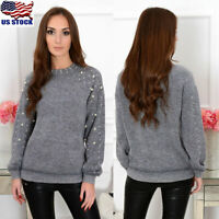 Womens Pearl Knitted Long Sleeve Jumper Sweater Winter Casual Knitwear Pullover