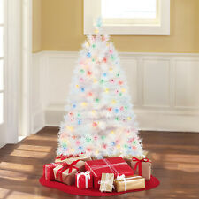Pre-Lit 4' Indiana Spruce White Artificial Christmas Tree, Multi-Lights