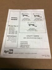 Agri-Fab Model 45-01011,45-01711, And 45-01841 Utility Carts Owners Manual