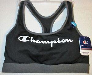 CHAMPION Logo Racerback SPORTS BRA, The Absolute Workout BLACK White GRAY B1251G