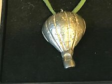"""Hot Air Balloon TG128 English Pewter On 18"""" Green Cord Necklace"""