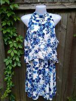 Paper Crane Blue White Floral High Neck Tier Dress Sleeveless Short Lined Size L