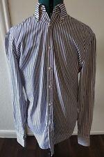 Michael Bastian Men's Blue White Plaid Striped Dress Long Sleeve Shirt Sz 40