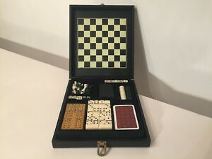 GAMES COMPENDIUM * FAUX LEATHER CASE * CHESS, DRAUGHTS, DOMINOES, DICE, CARDS *