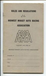 Rules & Regulations of The Midwest Midget Auto Racing Association 1948-histor...