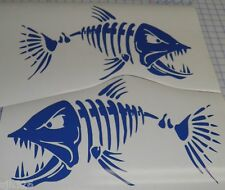 (2) Skeleton Fish Large Vinyl Decals for  Boat  -  Fishing - Blue