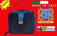 Made in Italia Borsa a tracolla BLU SABA Woman Pelle e Camoscio bauletto FASHION