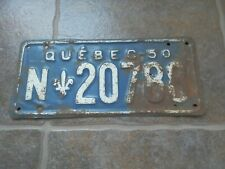 1950 Canada Québec license plate N-20780