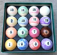 Vintage Set 16 Billiard Pool Table Balls Marbleized Swirl Multi Color FOR REPAIR