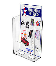 """Rack Card Wall Mount Brochure Holder Holds 4"""" Literature Tri Fold Clear Acrylic"""