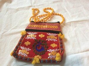 Handmade Crewel Peacock Embroidery yellow red Christmas jewelry pouch mini bag