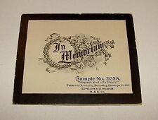 ORIG c1900s - IN MEMORIAM - DEALERS PRINTERS STOCK SAMPLE MOURNING CARD OBITUARY