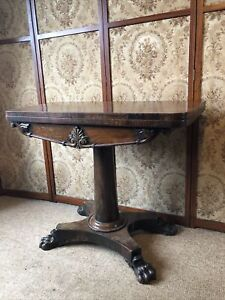 19th Century Walnut Fold Top Card Table with Sply Paw Feet In Original Con