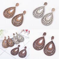 Natural Wooden Teardrop Earrings Popular Hollow Earrings Jewelry Gifts For Women