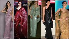 Indian Saree Black Designer Bollywood Sari Party Wear Blouse fabric Pakistani BF
