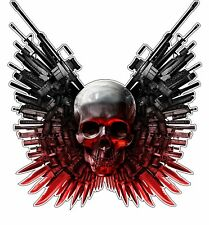 Skull Guns Knives Bumper Sticker Vinyl Decal