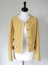 Benetton Vintage Yellow Jacket-Años 80 elástico wool-mix - Uk 10 / S