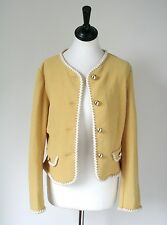 BENETTON VINTAGE Yellow Jacket-anni'80 ELASTICO wool-mix - UK 10 / S