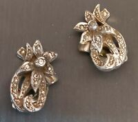 LOVELY VINTAGE DETAILED MARCASITE & SILVER FLOWER DESIGN CLIP ON EARRINGS