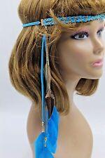 Feather Headband Hair Rope Gypsy Headpiece Headdress Blue