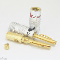 1pair Nakamichi Gold 4mm Banana Plug EU Type Screw Connectors for Speaker Cable