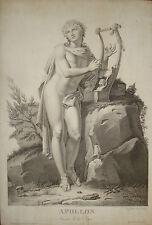 stampa antica mithology Apollo neoclassica mitologia old print 1800 gravure