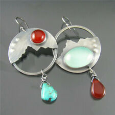 925 Silver Red Agate Moonstone Turquoise Opal Ear Hook Stud Dangle Drop Earrings