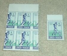 More details for paraguay olympics games 1960 stamps, u/m block of 4 with perforation shift sg863