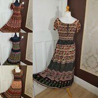 Printed Cool Maxi Summer Boho Elasticated Bodice Stretch Dress 12 14 16 18 20 22