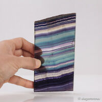 296g Natural Rainbow Fluorite Quartz Slab Polished Crystal Healing Display Decor
