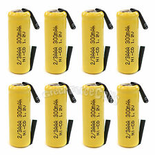 8 pcs 2/3 AAA 2/3AAA Ni-Cd 300mAh 1.2V Rechargeable Battery With Tab Yellow