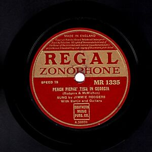 JIMMIE RODGERS 78 PEACH PICKIN' TIME IN GEORGIA / SHE WAS HAPPY TIL... MR 1335 E