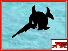 Laughing Saw Fish Vinyl Sticker in Black D2