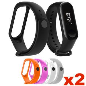 2x Ersatz Armband für Xiaomi Mi Band 3 4 5 Fitness Tracker Smartwatch Silikon