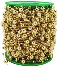 (1m=0,60€) 10m Deko Perlenkette Gold mit großen & kleinen Perlen aus Kunststoff