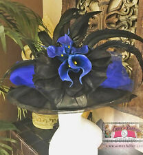 ROYAL ASCOT KENTUCKY Derby Big Hat Blue Black Races HAT CONTEST Calla Lillies