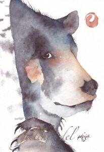 "ACEO GICLEE PRINT watercolor 2.5"" x 3.5"" Del Rio spirit bear 'Mystic Bear'"