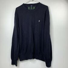 Lincs Mens Sweater Shirt Sz XXL Cashmere Blend Blue Patch Elbows Long Sleeve V1