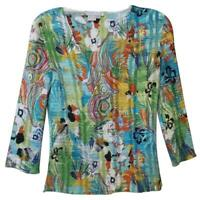 Alberto Makali NEW Silky Lightweight Colorful Top Oversized Size S