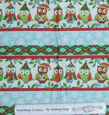 Patchwork Quilting Sewing Fabric CHRISTMAS OWLS Border Cotton Panel 40x110cm New