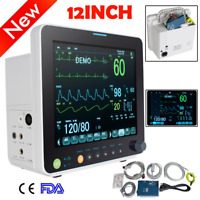 "Portable 12"" Patient Monitor Vital Signs 6Paras SpO2/NIBP/ECG/RESP/TEMP Medical"