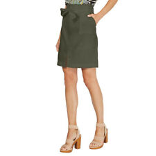 INC NEW Women's Paperbag-waist Belted Linen Blend Straight Pencil Skirt TEDO