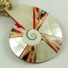 Shiva Eye necklace ;Ca220 Mother Of Pearl, Cone Shell,