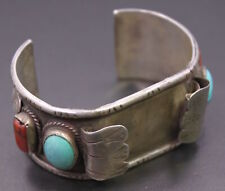Vintage Sterling Silver & Red Coral / Turquoise Stone Native American Watch Cuff