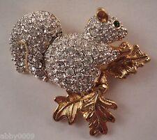 Signed Swan Swarovski Pave Squirrel Brooch Pin
