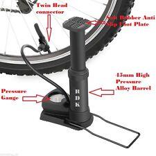 Alloy Body Mountain Bike Foot Floor Pump with Gauge140 PSI Fits Presta Schrader