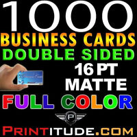 CUSTOM DESIGNED 1000 FULL COLOR 16PT THICK DOUBLE SIDED MATTE BUSINESS CARD