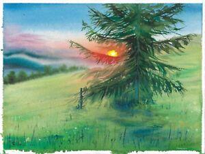 original painting 28 x 38 cm 135PO art samovar watercolor landscape sunset